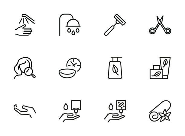 セルフケア行アイコン セット - 体 洗う点のイラスト素材/クリップアート素材/マンガ素材/アイコン素材