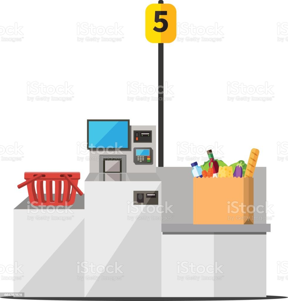 Self checkout with full bag vector art illustration