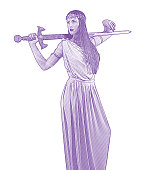 Self confident feminist holding sword and wearing Grecian-style dress