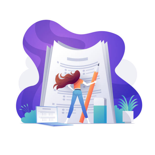 illustrazioni stock, clip art, cartoni animati e icone di tendenza di a self confident woman standing on big papers - esame università
