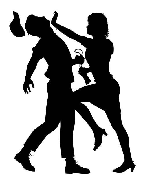 Self defense woman vector art illustration