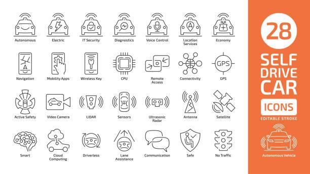 illustrazioni stock, clip art, cartoni animati e icone di tendenza di self drive car line icon set. autonomous sensor smart vehicle editable stroke outline symbol. - sensore