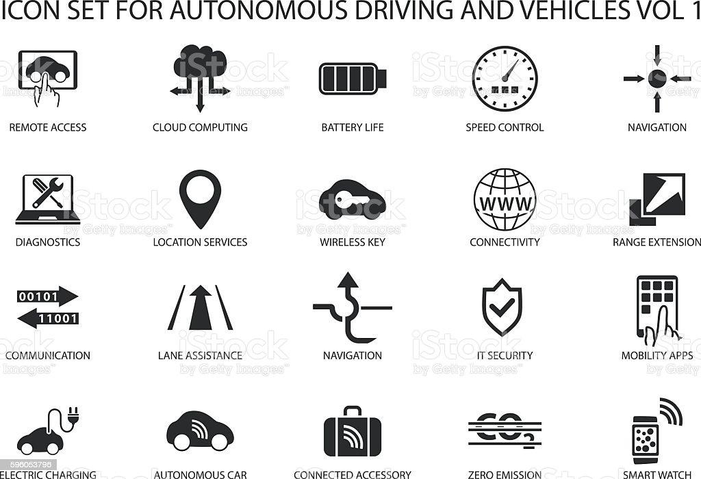 Self driving and autonomous vehicles vector icon set. vector art illustration