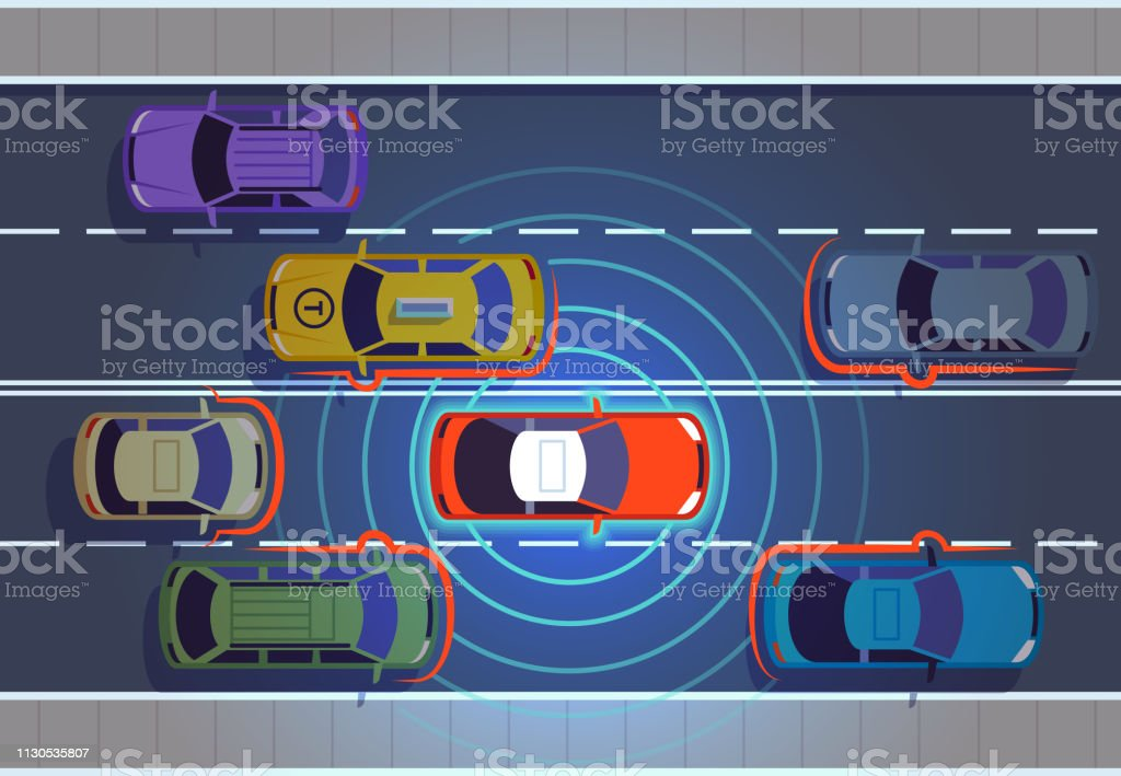 Self driving car. Automotive cars futuristic technology remote top...