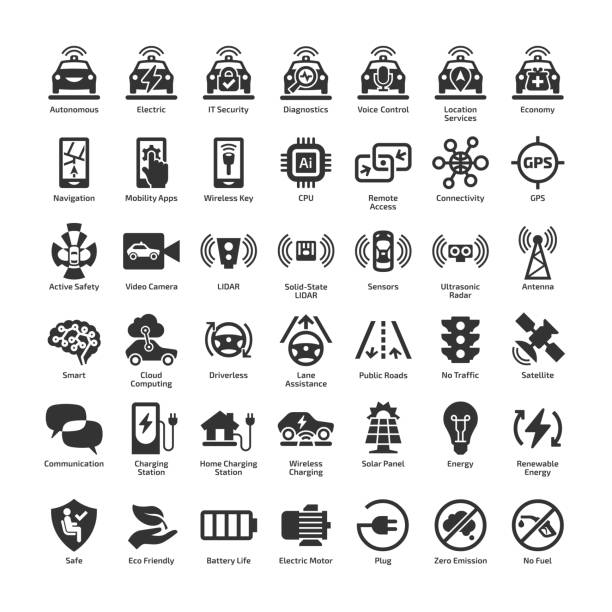 Self driving electric car 42 vector icon set. Autonomous driverless sensor smart eco vehicle and charger station isolated pictogram. Self driving electric car 42 vector icon set. Autonomous driverless sensor smart eco vehicle and charger station isolated pictogram. hybrid vehicle stock illustrations