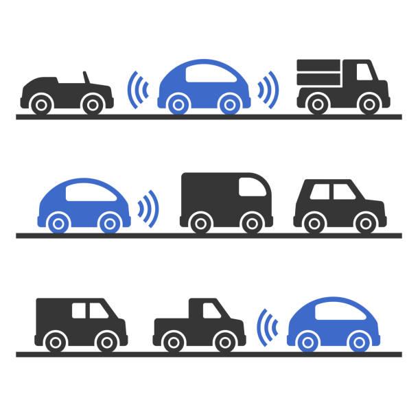 selbstfahrer smart auto auf die straße gesetzt. vektor - selbstfahrende autos stock-grafiken, -clipart, -cartoons und -symbole