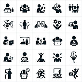 An icon set of self employment related themes and concepts. The icons include people working from home, business person multitasking, person juggling duties, making money, standing out from the crowd, social media, fork in the road, putting pieces together, running a business, mother working while holding newborn, making deals, being the boss, setting goals, working long hours, giving presentations and other concepts related to the duties associated with being self-employed.