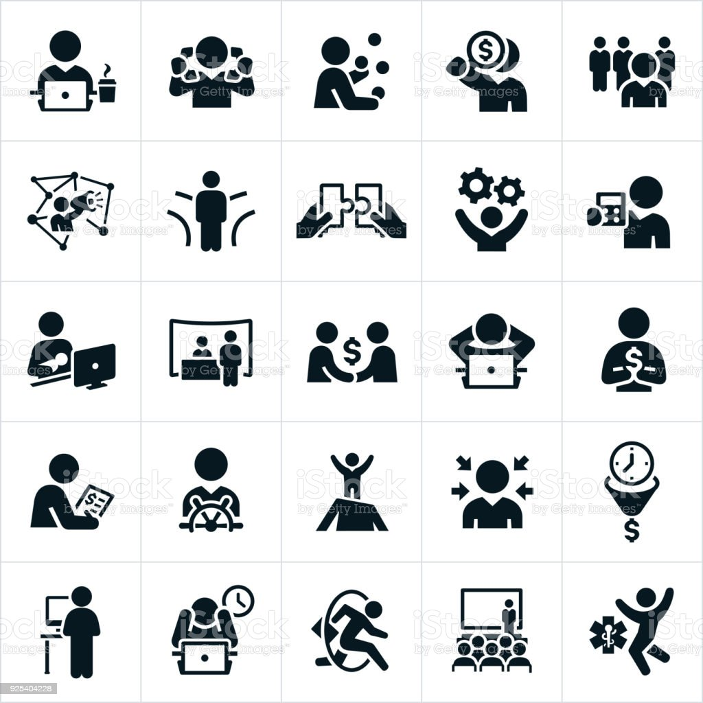 Self Employment Icons vector art illustration
