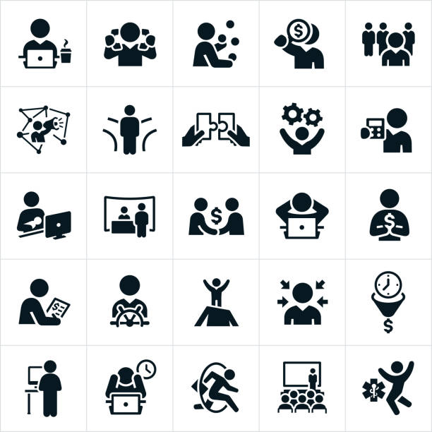 self employment icons - working from home stock illustrations