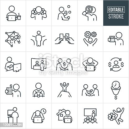 A set of self-employment icons that include editable strokes or outlines using the EPS vector file. The icons include a self employed person working on laptop, person multi-tasking by talking with two phones, worker juggling, businessman with magnifying glass looking for funds, worker using social media, person at cross roads, worker putting two puzzle pieces together, worker with cogs, self employed person holding calculator, new mom working at computer, worker at trade show, worker making money, worker relaxing behind computer with hands behind head, self employed person at helm of ship, worker on top of mountain to represent success, self-employed person giving out business card, worker at stand up computer desk, overworked person, working from home, worker giving presentation, health benefits and other related icons.