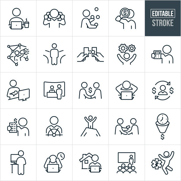 self employment thin line icons - editable stroke - working from home stock illustrations