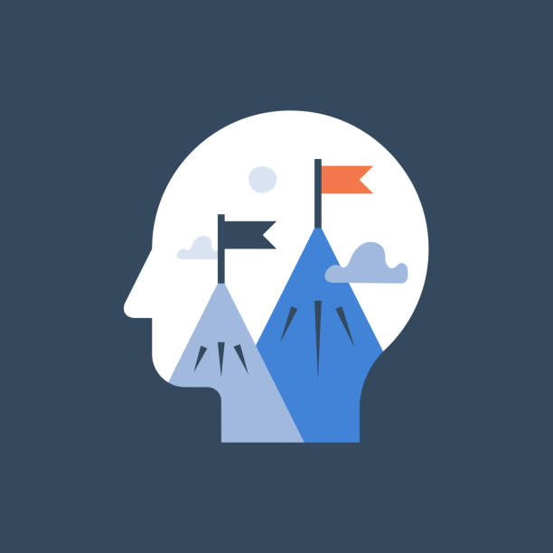 Self growth mindset, big picture thinking, effort to success, future investment, fast progress, personal strategy Big picture thinking, self growth mindset, effort to success, future investment, fast progress, next level advancement, develop potential, personal strategy, better version of oneself, vector icon attitude stock illustrations