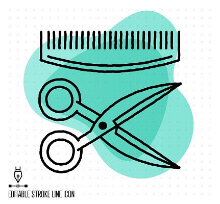 Self Haircut Vector Editable Line Illustration