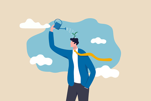 Self improvement, growth mindset, positive attitude to learn new knowledge improve creativity for business problem concept, smart businessman using watering can to water growing seedling on his head.