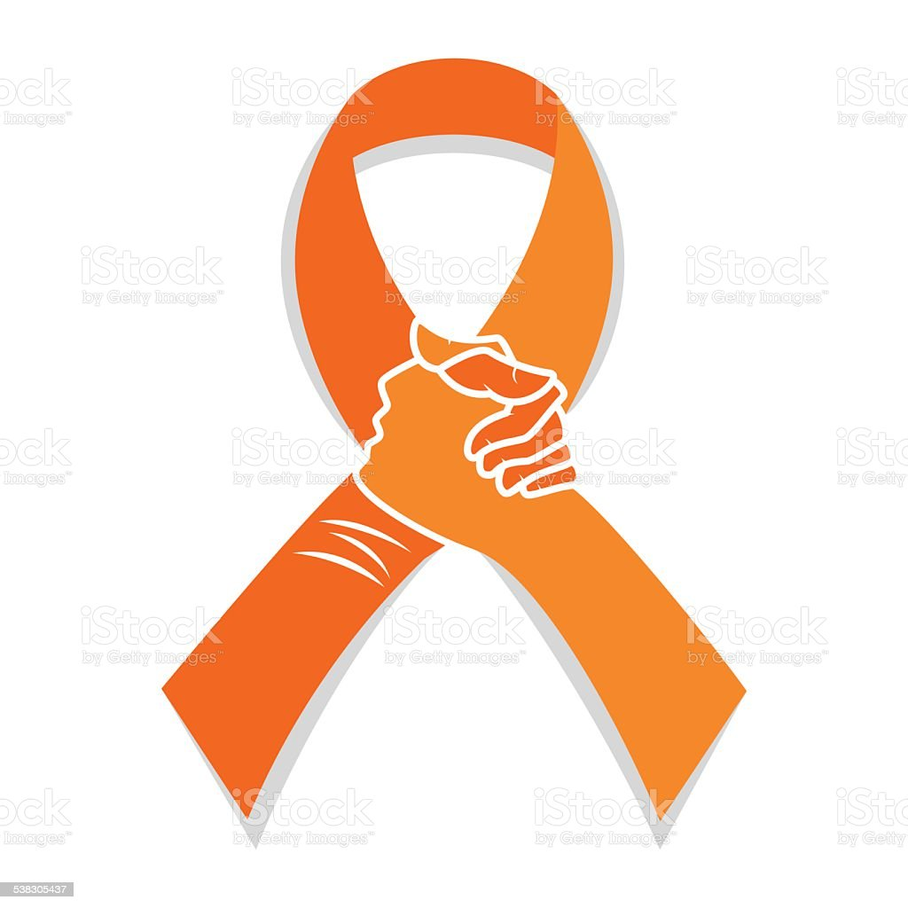 Self injury orange awareness ribbon vector art illustration
