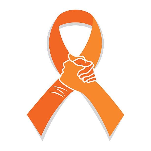 Self injury orange awareness ribbon Self injury orange awareness ribbon, hands concept, solidarity people, vector illustration, isolated white background. suicide stock illustrations