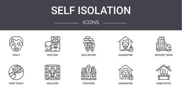illustrations, cliparts, dessins animés et icônes de ensemble d'icônes de ligne de concept d'isolement de soi. contient des icônes utilisables pour le web, le logo, l'ui/ux tels que le facetime, la quarantaine, ne touchez pas, stayhome, quarantaine, bureau à domicile, camion d'épicerie, achat en  - facetime