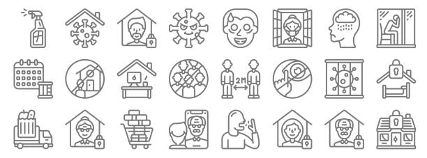 illustrations, cliparts, dessins animés et icônes de icônes de ligne d'isolement. ensemble linéaire. ensemble de ligne vectorielle de qualité tels que stayhome, quarantaine, facetime, camion d'épicerie, pas de virus, bureau à domicile, solitaire, fou, virus - facetime
