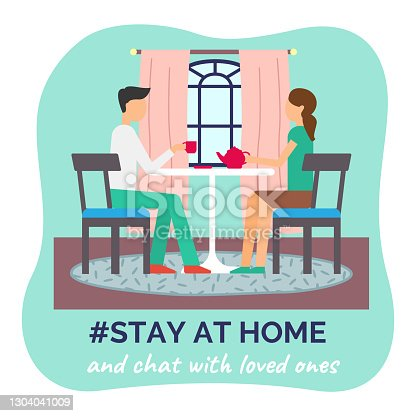 Stay at home concept, people sitting at the table in room, drinking tea and chating with loved ones. Family sitiing at home, keeping the distance. Quarantine or self-isolation. Health care concept