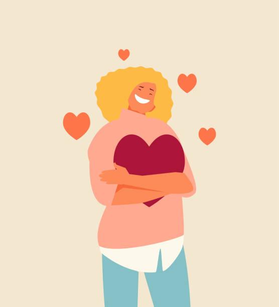 illustrations, cliparts, dessins animés et icônes de caractère de fille d'amour de soi - femme seule s'enlacer