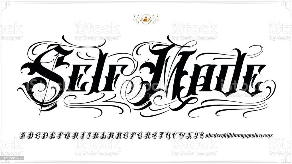 Self Made tattoo lettering vector art illustration