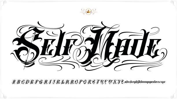 illustrations, cliparts, dessins animés et icônes de self made tatouage lettrage - polices de tatouage