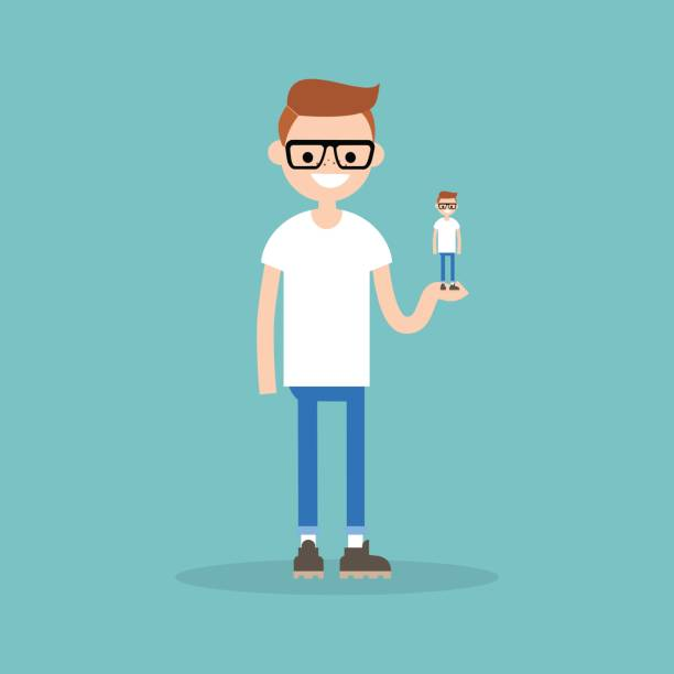 Self presentation. Young character holding his 3D model on the palm / flat editable vector illustration, clip art vector art illustration