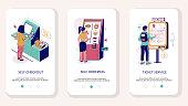 Self service mobile app onboarding screens. Menu banner vector template for website and application development. Supermarket self checkout, fast food restaurant and cinema self-service kiosks.