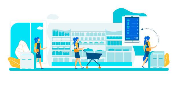 ilustrações de stock, clip art, desenhos animados e ícones de self service store. smart shelf vision technology. - prateleira compras