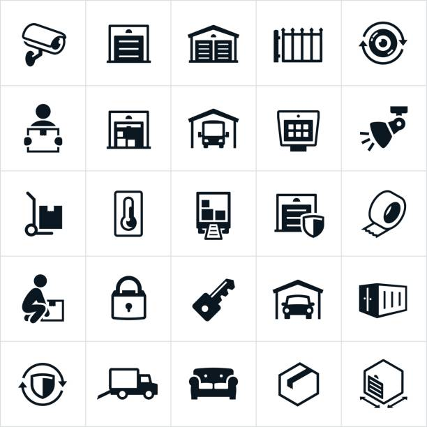 Self Storage Icons A set of self storage icons. The icons include storage units, security camera, surveillance, gate, boxes, furniture, RV storage, keypad, lights, security, climate control, lock, key, packing materials, moving materials, moving truck and storage locker to name a few. gate stock illustrations