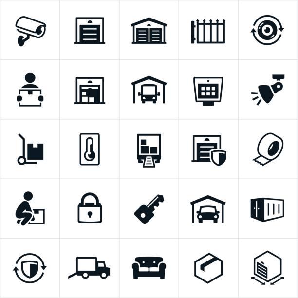 stockillustraties, clipart, cartoons en iconen met self storage pictogrammen - opslagruimte