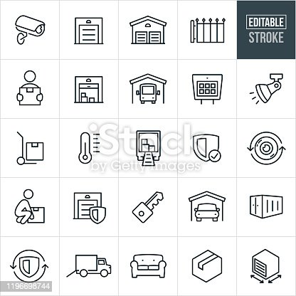 A set of self storage icons that include editable strokes or outlines using the EPS vector file. The icons include storage units, security camera, storage entrance gate, person carrying a box, open storage unit with boxes, an RV in storage, gate keypad, security light, thermometer, moving truck, key, car is storage, storage container, furniture and other related icons.