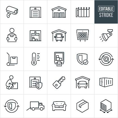 Self Storage Thin Line Icons - Editable Stroke