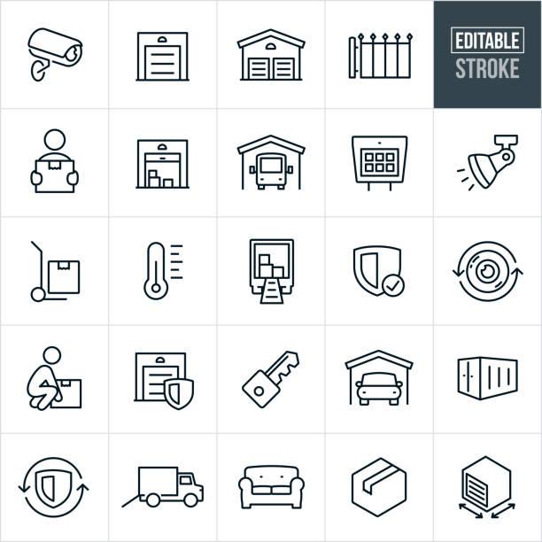 stockillustraties, clipart, cartoons en iconen met self-opslag thin line-pictogrammen-bewerkbare lijn - opslagruimte