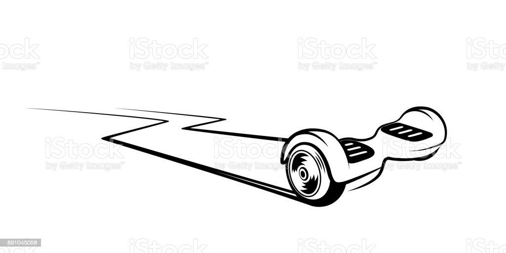 Self-balancing scooter vector vector art illustration