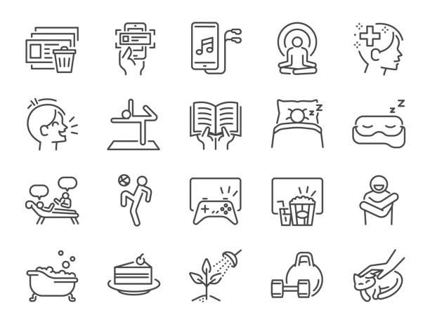 bildbanksillustrationer, clip art samt tecknat material och ikoner med egenvård under själv karantän linje ikonuppsättning. inkluderade ikoner som ta hand om ditt sinne, njuta, känslor, psykisk hälsa, slappna av och mycket mer. - avkoppling