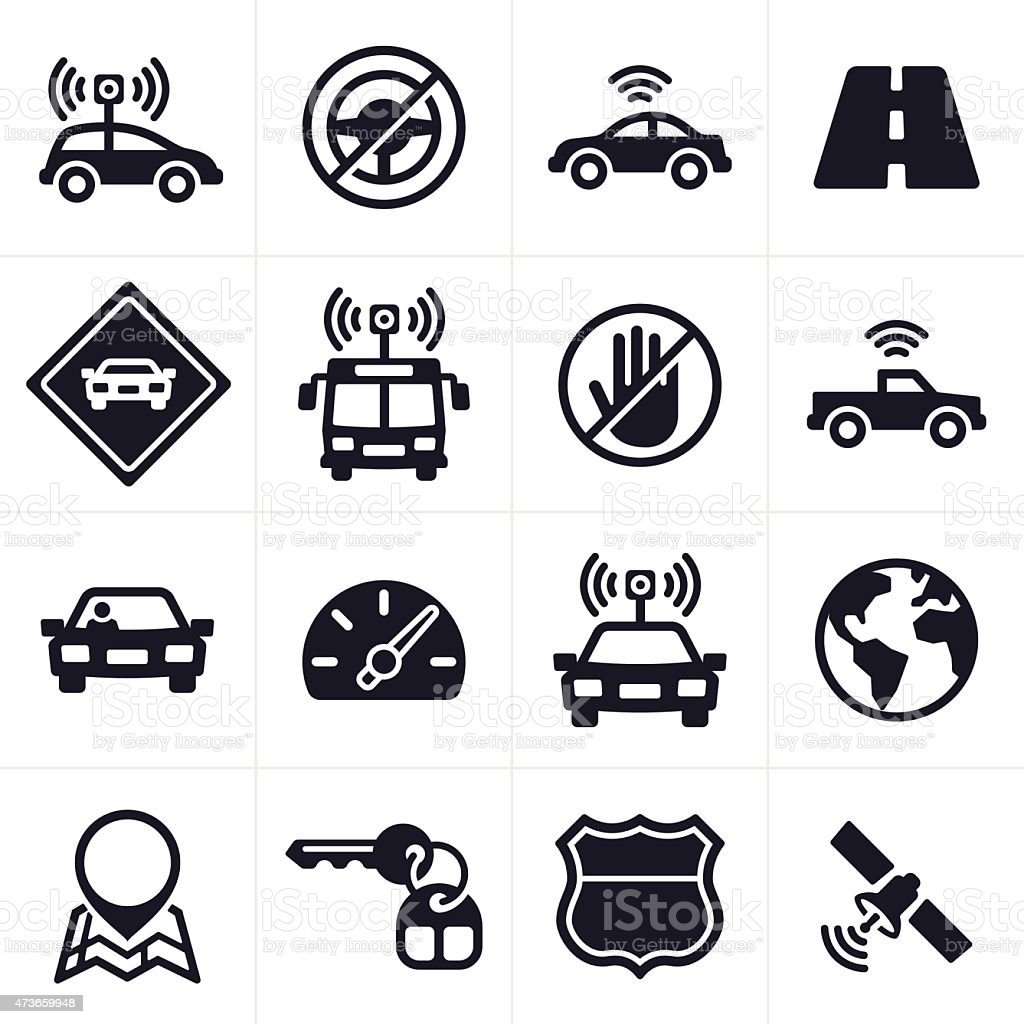 Self-driving and Driverless Car Icons and Symbols vector art illustration