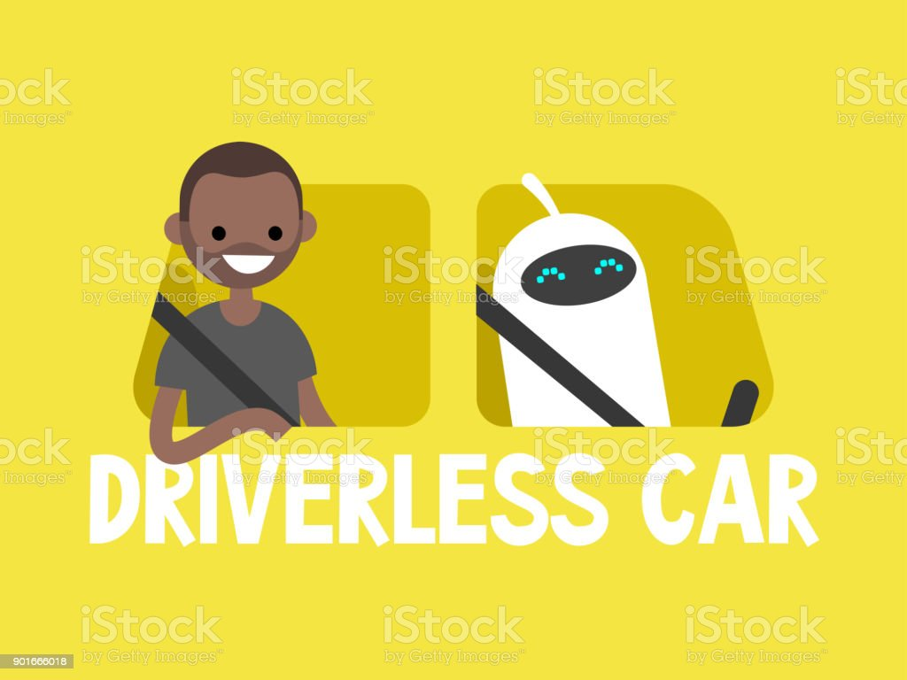 Self-driving car concept. Cute white robot driving a taxi. African american passenger sitting on a back seat. Flat editable vector illustration, clip art vector art illustration