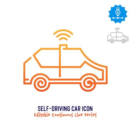Self-driving Car Continuous Line Editable Stroke Line