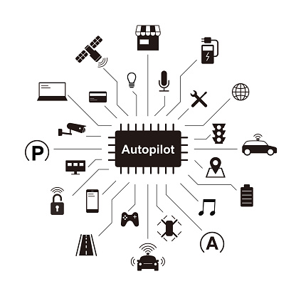 self-driving car icons, vector illustration