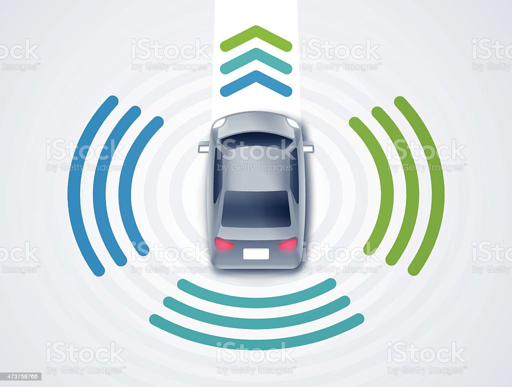 Self-driving or Driverless Car vector art illustration