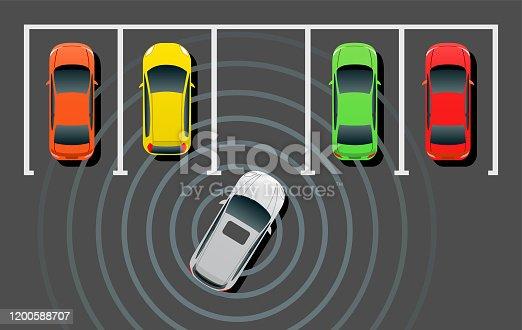istock Self-driving Smart Car Auto Parking 1200588707