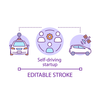 Self-driving startup concept icon. Making autonomous vehicles. Engineers, driverless vehicle. Smart cars development idea thin line illustration. Vector isolated outline drawing. Editable stroke