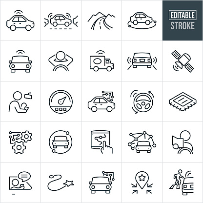 Self-Driving Vehicles Thin Line Icons - Editable Stroke