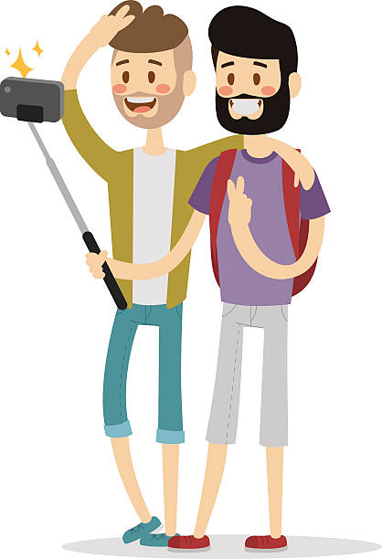 Selfie friends mans gays couple vector illustration Selfie friends mans gays couple vector illustration. Selfie shot man, friends, gays. Vector selfie people set. Modern life with selfie photo camera.  same sex couples stock illustrations