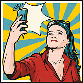 Retro pop art girl taking a selfie with her phone. Square shaped vintage style illustration.