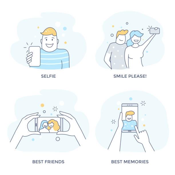 illustrazioni stock, clip art, cartoni animati e icone di tendenza di selfie icon set. - couple portrait caucasian