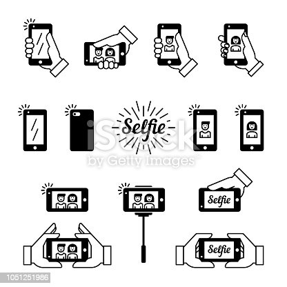 Selfie graphic flat icon set. Vector illustration. Photos with smart phone in hand. Clean and simple outline design elements, symbols and pictograms
