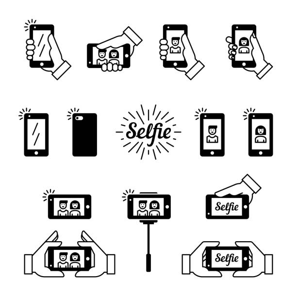 selfie vektor icons - fotohandy stock-grafiken, -clipart, -cartoons und -symbole