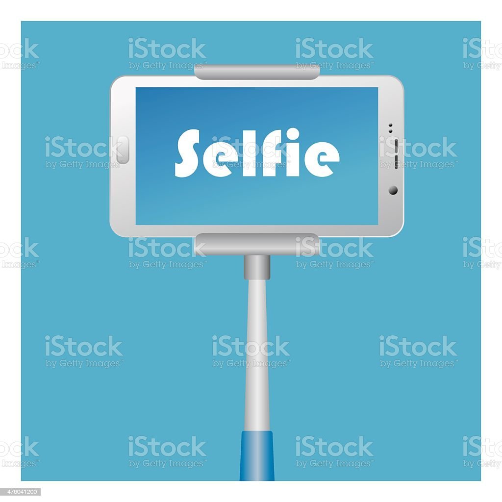 Selfie Icon with smart phone and monopod vector art illustration